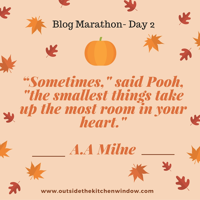 """Sometimes,' said Pooh, 'the smallest things take up the most room in your heart.""- A.A Milne"
